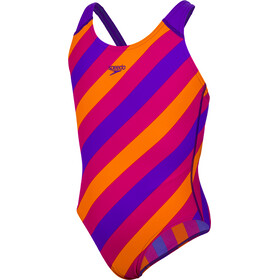 speedo Allover Splashback Swimsuit Meisjes, purple/pink